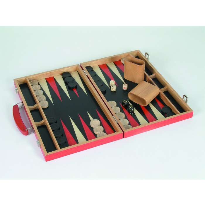 Backgammon Koffer Holz rot